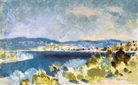 Danube bend - froid, tempera on paper 21 x 32 cm