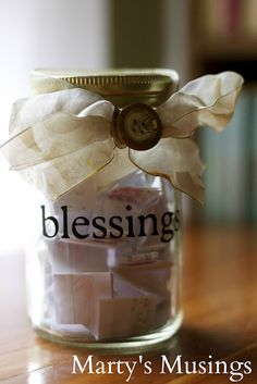 Marty and Marty's Musings linked up a fantastic post on her many uses of a Ball Mason Jar. Such a fun post. One of our favorites is her Our Blessings Jar. [VERY important jar! Mason Jar Crafts, Mason Jars, Thanksgiving Crafts, Thanksgiving Decorations, Christmas Decorations, Thanksgiving Traditions, Thanksgiving Blessings, Family Traditions, Holiday Traditions