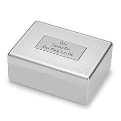 Personalized Silver Cuff Link and Tie Clip Set With Free Keepsake Box, Add Your Message