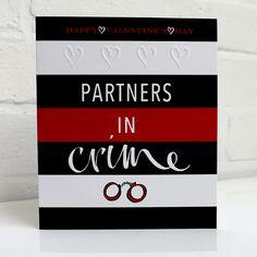 Cheeky Valentine's day card with hand-cuffs. 50 shades of grey!? Kirsten Burke design