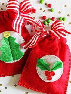 Como hacer bolsitas de regalos navideños                                                                                                                                                      Más