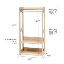 Embellish a typical and attractive look to your home space with the addition of this IRIS Brown Compact Wood Garment Rack. Wooden Clothes Rack, Kids Clothing Rack, Wood Clothing Rack, Closet Rod, Closet Racks, Garment Racks, Wooden Diy, Diy Furniture, Kids Room