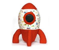 Rocket stuffed toy sewing pattern. A very cute plushie to sew for a boy! It will be his favorite softie.  This pattern is a pdf downloadable pattern.