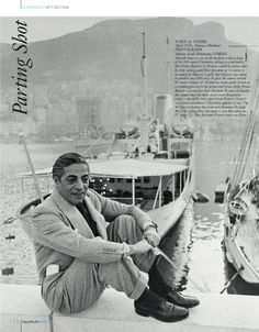 Monaco Harbour - Aristotle Onassis sits on the harbour wall in front of his 100-metre Christina. #yacht #50s