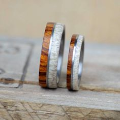 Womens Wedding Band Yucatan Rosewood Inlay over Metal Band Stag