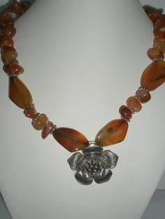 Carnelian Necklace with antique pewter flower pendant by Rustic Wedding Jewelry, Fall Jewelry, Unique Jewelry, Antique Pewter, Flower Pendant, Carnelian, Fall Wedding, Antiques, Handmade Gifts