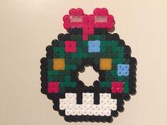 Perler bead mushroom Christmas wreath - by Bjrnbr