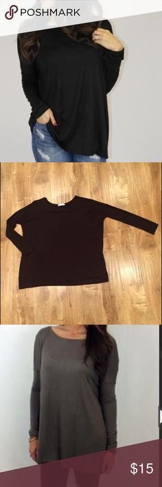 Black tunic This is called a Charlie tunic. It is so darn cute! Super stretchy and comfortable, it's wider around the body and then snug on the arms. Effortless piece to throw on! I own this in multiple Colors and i don't wear the black one. Like new condition. Unfortunately I cut off the tag on the side with the information but it's a polyester/spandex blend. Tops Tunics