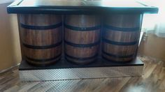 Whiskey Barrel Bar Set with Three Bar Stools | eBay
