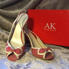 """Anne Klein Red Denim Slingback Heels Cute red denim peep toes with white patent leather detail. Heel height 3-3/4"""". Worn with many different outfits & for many different occasions. Slight darkening of the fabric at base of heel, but other than that in great condition. Perfect size 9-1/2 fit. 🚫Trades 🚫🅿️🅿️ 🆕5/5/16 Anne Klein Shoes Heels"""