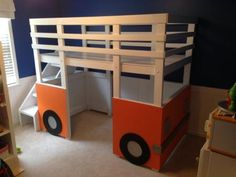 Henry's Bus Loft Bed   Do It Yourself Home Projects from Ana White   This is extremely study and put together with lag bolts so it can be moved and reconstructed easily!  Add to our design plans for castle.