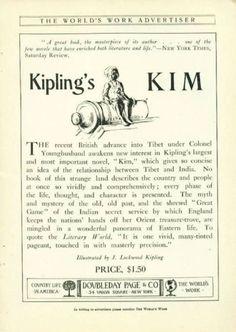 Original Vintage Advertisements for Classic Books    Kim by Rudyard Kipling, c. 1902.