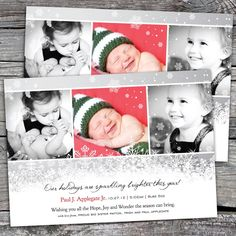 Holidays Sparkling Brighter - Photo Christmas / Holiday Birth Announcement Card. Option to Print.