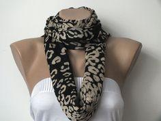 Pashmina Scarf - Leopard Print Scarf - Beige and Black Long Pashmina Scarves For Women. $20.00, via Etsy.