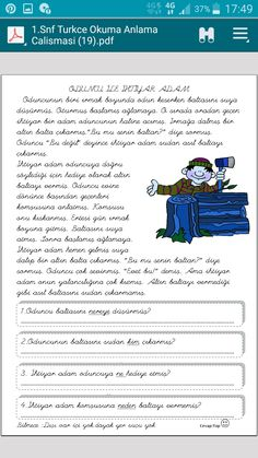 okuma-anlama Learn Turkish, Grade 1, Classroom, Education, Learning, Words, Class Room, Studying, Teaching