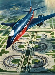 "This print, ""Airport of the Future"", by Wilf Hardy, shows a B-1747orde streaking over the Dallas-Fort Worth of tomorrow. I can't get past the fact that the airline is called ""AOL."" A happy accident in 1973, or physical proof of temporal tampering?"