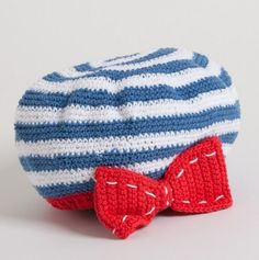 Infant Striped Cap with Bow