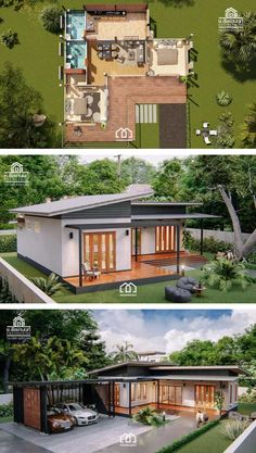 Modern, Villa-Style Single Storey House With Two Bedrooms - Ulric Home Modern Tropical House, Tropical House Design, Tropical Houses, Single Floor House Design, Sims House Design, Minimal House Design, Minimal Home, Small House Plans, House Floor Plans