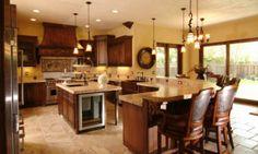 Granite Open Floorplan Farmhouse Sink Leather-backed Bar Chairs