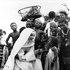 """Audrey Hepburn in the Belgian Congo during the filming of The Nun's Story, seems to be a God-given gift,"""" says Ingrid Bergman, """"that allows the talent within you to come out and go across the footlights or the screen to the audience. Vintage Hollywood, Classic Hollywood, Audrey Hepburn, Natalie Portman Mila Kunis, The Nun's Story, Hair Test, Belgian Congo, Ingrid Bergman, She Movie"""