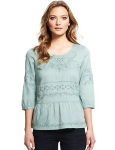 Indigo Collection Pure Cotton Floral Embroidered Top-Marks & Spencer