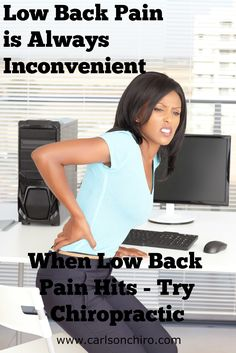 Lower Back Pain is Always Inconvenient! There is never a right time to be disabled with low back pain. When low back pain hits try chiropractic. Chiropractic has been proven to be safe and effective for lower back pain relief. Call 512-447-9093  or learn more at http://www.carlsonchiro.com #AustinChiropractor #AustinLowerBackPain #AustinLowBackPain #AustinLowBackPainRelief #SouthAustinChiropractor #Chiropractor78745 #AusitnSpinalDecompression