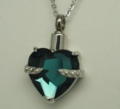 AQUAMARINE CZ HEART CREMATION JEWELRY URN NECKLACE STAINLESS PET URN