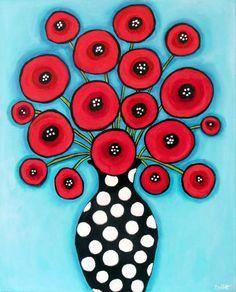 Poppies Blue, 24x30 by Shelagh Duffett