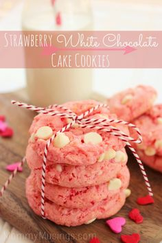 Strawberry White Chocolate Cake Cookies Recipe. Perfect for Valentine's Day!