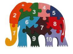 EcofriendlyBee Wooden Elephant Numbers 123 Childrens Jigsaw Puzzle e Wooden Elephant, Wooden Numbers, Number Puzzles, Wooden Jigsaw Puzzles, S Mo, Scroll Saw, Handmade Toys, Handicraft, Kids Rugs
