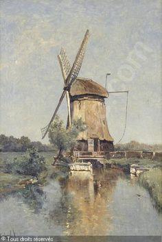 GABRIEL Paul Joseph Constantin - Windmühle bei einem Kanal.