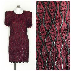 Burgundy and black beaded and sequined cocktail dress SIZE 12 NEW with tags by TimeTravelFashions