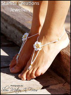 "Barefoot Sandals ~ "" White Diamonte Frangipani """