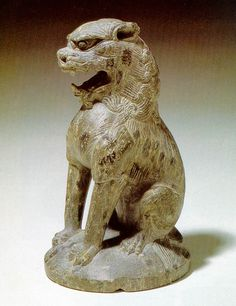 "korean-art:  "" "" Lion-shaped Incense Burner Cover  Unified Silla Kingdom  This lion-shaped incense burner cover, recovered from Wolji, was elaborately carved from a single piece of agalmatolite. A lit incense stick could be inserted into a hole in the..."