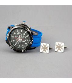 dadb93f27e8b Conjunto de Reloj S S correa azul y gemelos de acero con cruz de malta