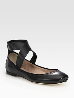 ShopStyle: Strappy Leather Square Toe Ballet Flats