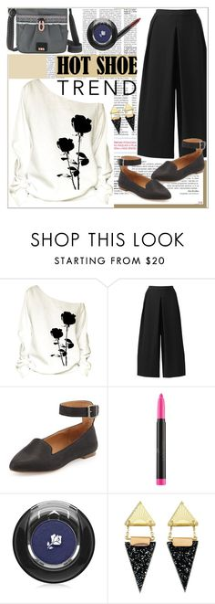 """""""Hot shoe trend..."""" by juliejones-333 ❤ liked on Polyvore featuring Kelsi Dagger Brooklyn, Lancôme, Wolf & Moon, The Sak, messengerbag, contestentry and anklewrapflats"""