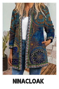 # Cotton Blend # Cardigan # Printing # Leisure # Loose # Autumn / Winter / Spring # Casual Style # Long Sleeve # Cardigans For Women, Coats For Women, Jackets For Women, Top Streetwear, Style Simple, Mode Shop, Vintage Coat, Long Sleeve Tunic, Types Of Sleeves