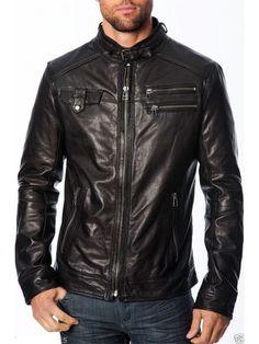 Mens Genuine Lambskin Leather Jacket Slim Fit Moto Biker Jacket T314