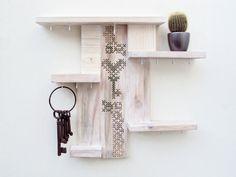 Shelf Key Holder Organizer Cross Stitch Decor Whitewashed by stedi, €42.50