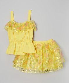 Look what I found on #zulily! Yellow Ruffle Tank & Flower Skirt - Infant, Toddler & Girls #zulilyfinds
