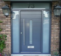 contemporary front door grey two sidelights & house number Grey Composite Front Door, Grey Front Doors, Front Door Porch, Porch Doors, Front Doors With Windows, Double Front Doors, Modern Front Door, Front Door Entrance, House Front Door