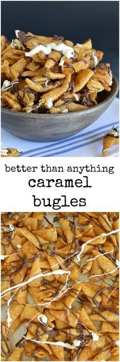 Caramel Bugles are crunchy, salty, sweet, chocolaty, and only take about five minutes to make. It's a dangerous combo!
