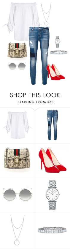 """""""Untitled #148"""" by stylesbylex on Polyvore featuring Steffen Schraut, 7 For All Mankind, Gucci, Christian Louboutin, Marc Jacobs, Longines and Botkier"""