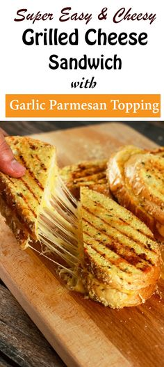 Grilled Cheese Sandwich with Garlic Parmesan Topping - This grilled cheese sandwich is going to quickly become your absolute favorite! It's SUPER easy to make and the topping stores really well! Prepare the topping ahead of time and whip this up in 5 minutes! The kids are going to LOVE this! | ScrambledChefs.com