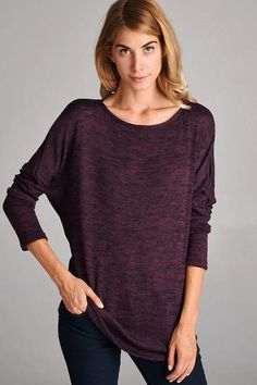 This is literally the perfect fall top. This slightly slouchy sweater knit women's shirt is made for those chilly fall days when you've transitioned from t-shirts, but aren't quite ready for heavy swe