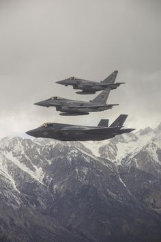 A U.S Marine Corps F-35B and Royal Air Force Typhoon FGR4's flying in formation.