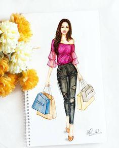 "667 aprecieri, 36 comentarii - Dipti Patel (@dipti.illustration) pe Instagram: ""Saturday afternoon with floral ruffled top and ice blue denims! 🍹 💜 #fashionillustration #saturday…"""