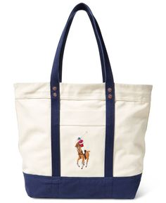 Polo Ralph Lauren Men s Big Pony Canvas Tote - Natural Navy   Polo ... 17a8fb4fe0