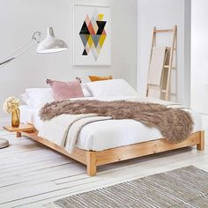 Low Platform (Space Saver) Wooden Bed Frame by Get Laid Beds Low Platform Bed, Platform Bed Frame, Wooden Platform Bed, Loft Room, Bedroom Loft, Low Bed Frame, Under Bed Storage Boxes, Low Loft Beds, Low Beds